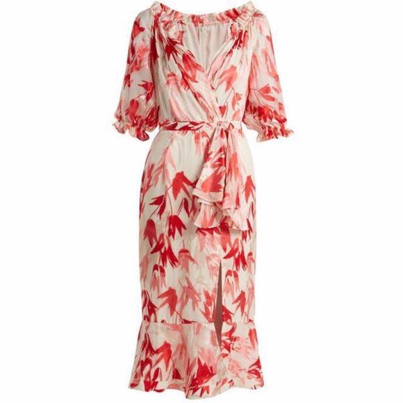 Saloni Dresses & Skirts - NWOT Saloni Olivia Tulip-Print Devoré Dress 6